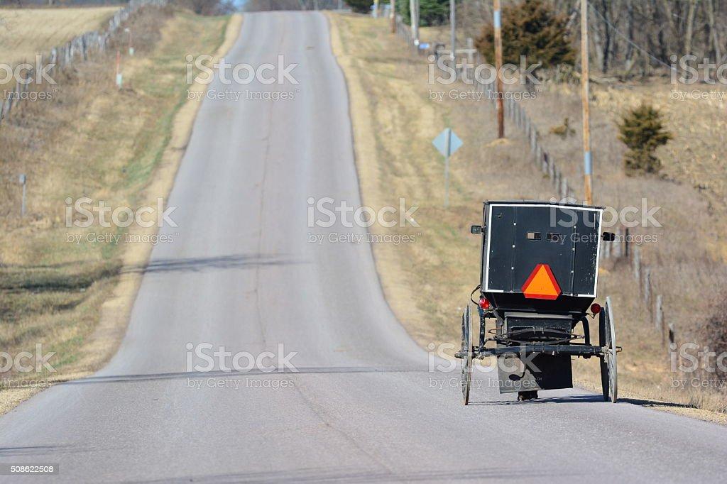 Amish Buggy on Road stock photo
