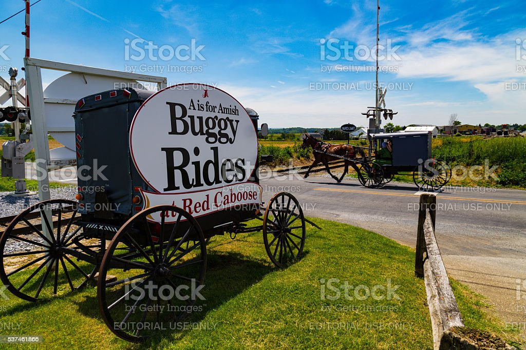 Amish Buggy Rides Sign in Lancaster County stock photo