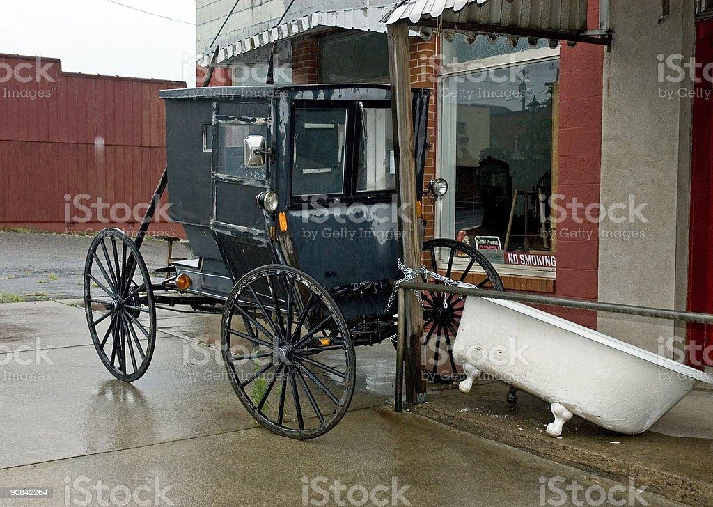 Amish Cart with Bathtube on Rainy Day royalty-free stock photo