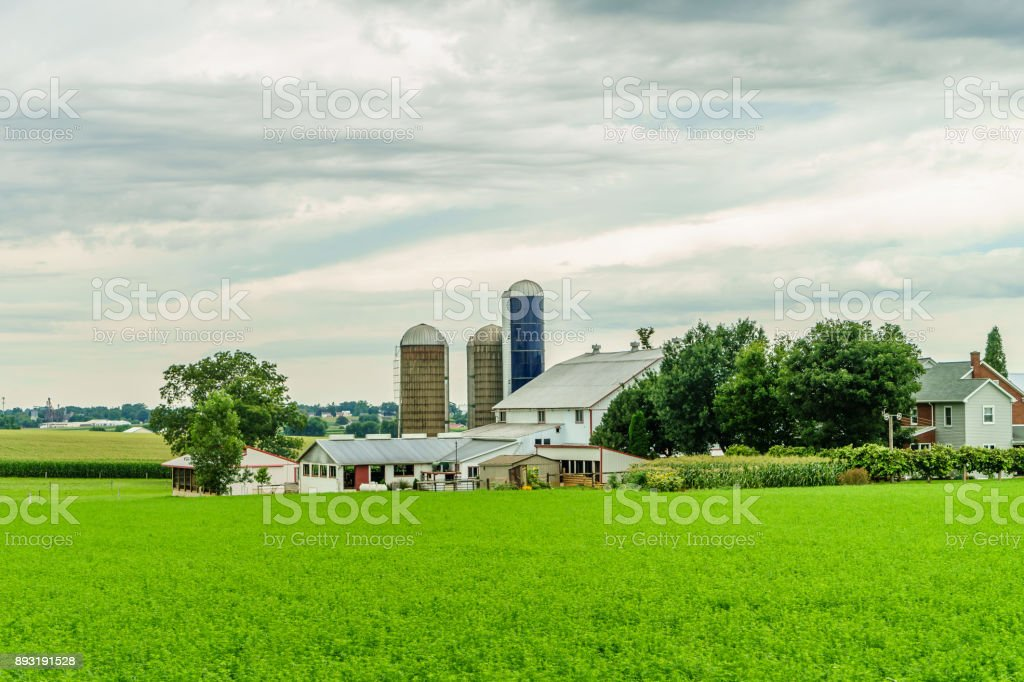 Amish country farm barn field agriculture in Lancaster, PA stock photo