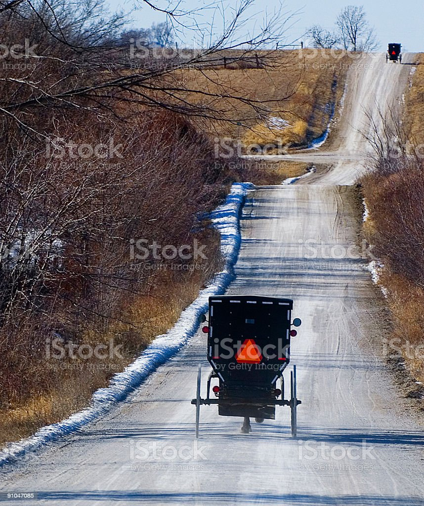 Amish Country Road in Winter stock photo