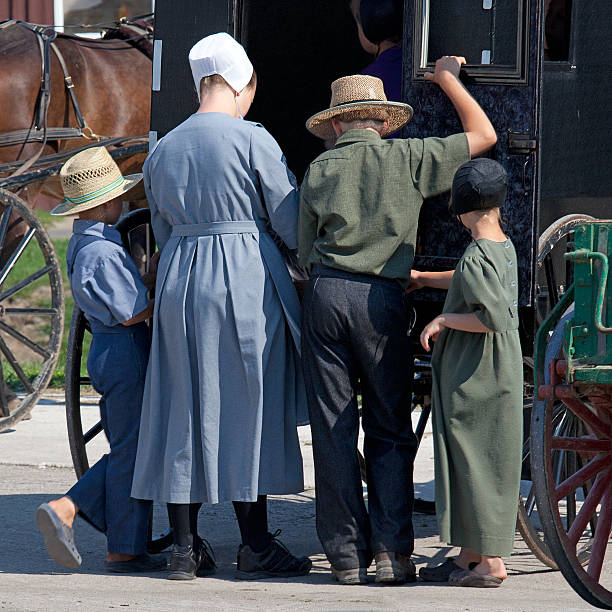 Amish Family stock photo