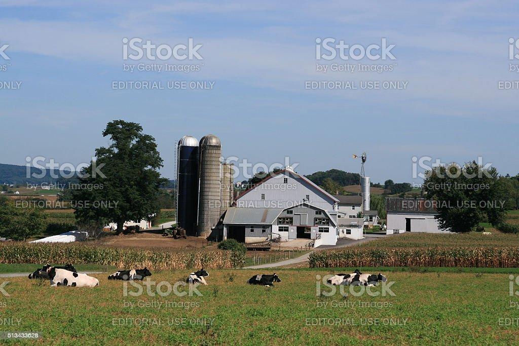 Amish Farmhouse and barn, Lancaster, Pennsylvania stock photo