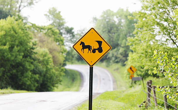 Amish Horse and Buggy Carriage Road Sign An Amish horse and carriage sign at the top of a hilly, twisting country road in the Finger Lakes region of western New York state cautions motor vehicle drivers to be careful. anachronistic stock pictures, royalty-free photos & images