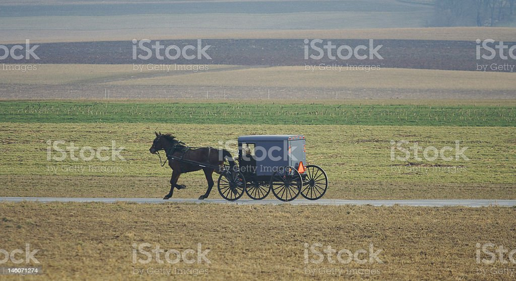 Amish Horse and buggy in scenic lancaster county pa stock photo
