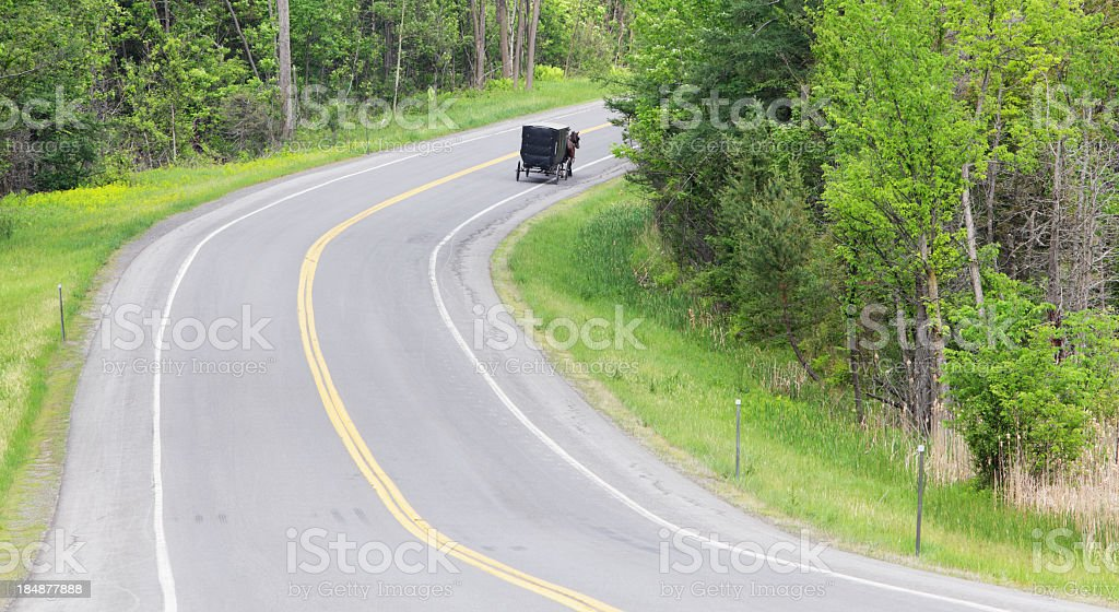 Amish Horse and Buggy on Rural Highway Road stock photo