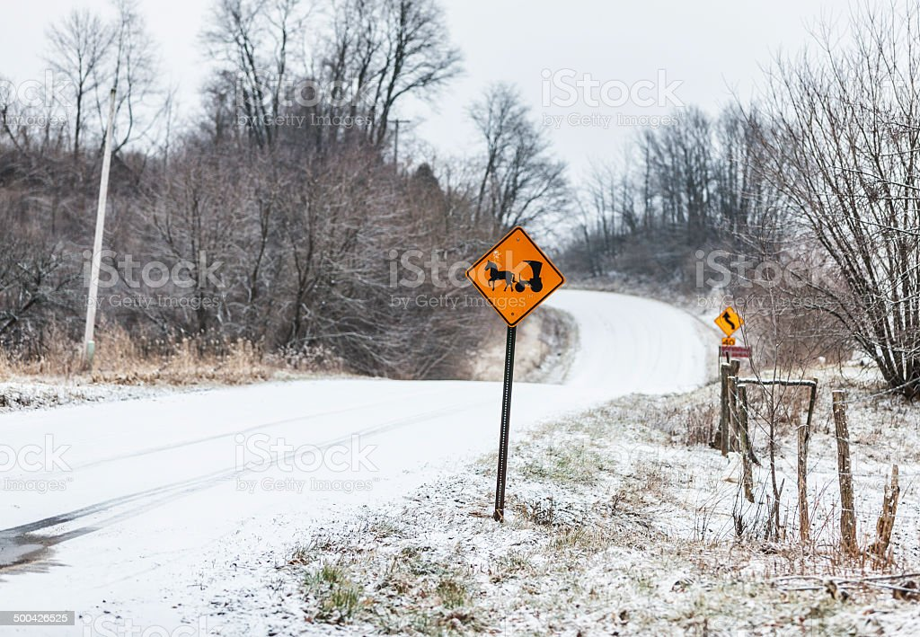 Amish Horse And Buggy Rural Winter Road Sign stock photo