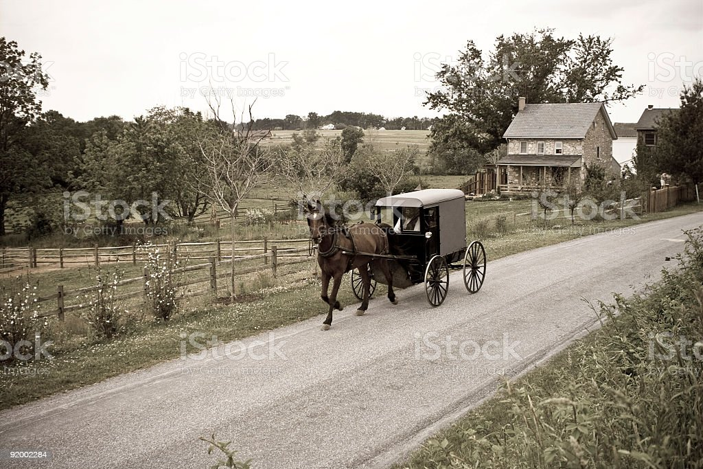 Amish Horse-drawn Buggy Lancaster County Pennsylvania stock photo