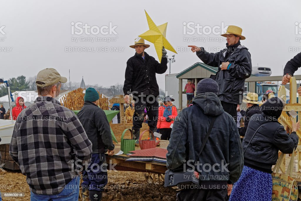 Amish Men Sell  Crafts at Lancaster County Auction stock photo