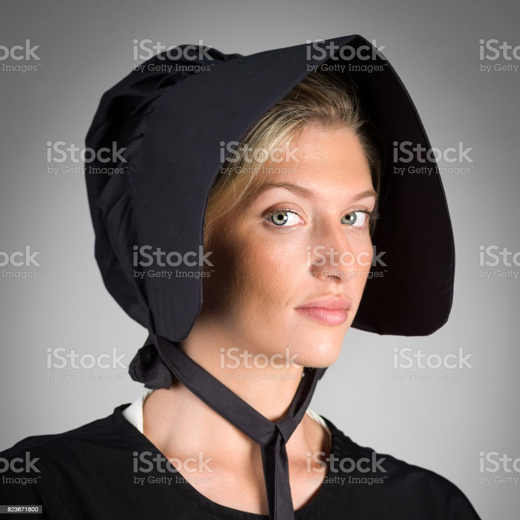Amish or mennonite young woman stock photo