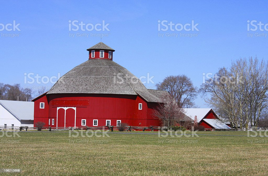 Amish Round Barn Amish round barn in red farm colors. Agriculture Stock Photo