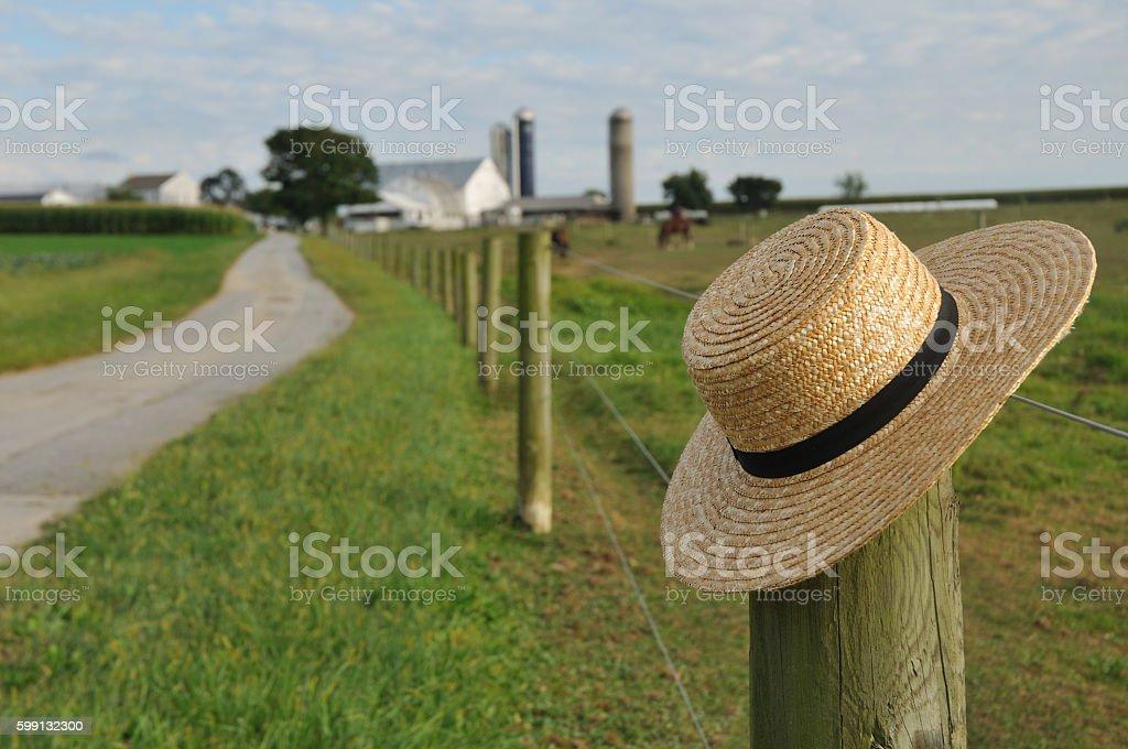 Amish straw hat in Lancaster Pennsylvania stock photo
