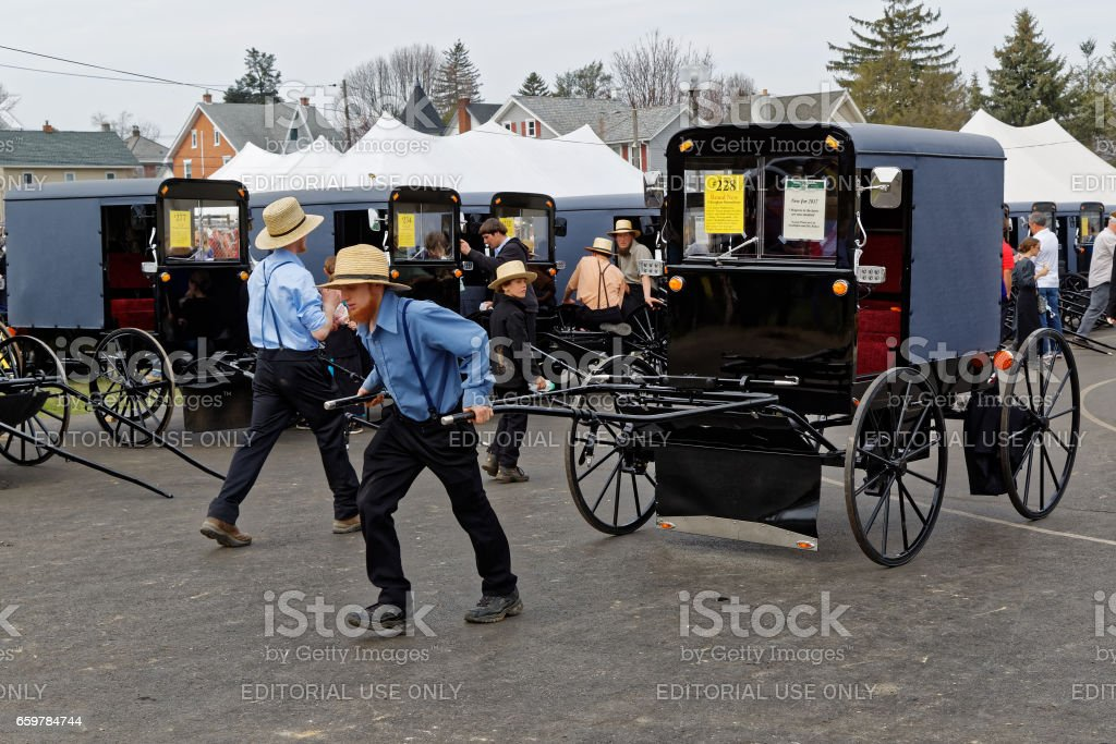 Amish Volunteers at Lancaster County Carriage Auction stock photo