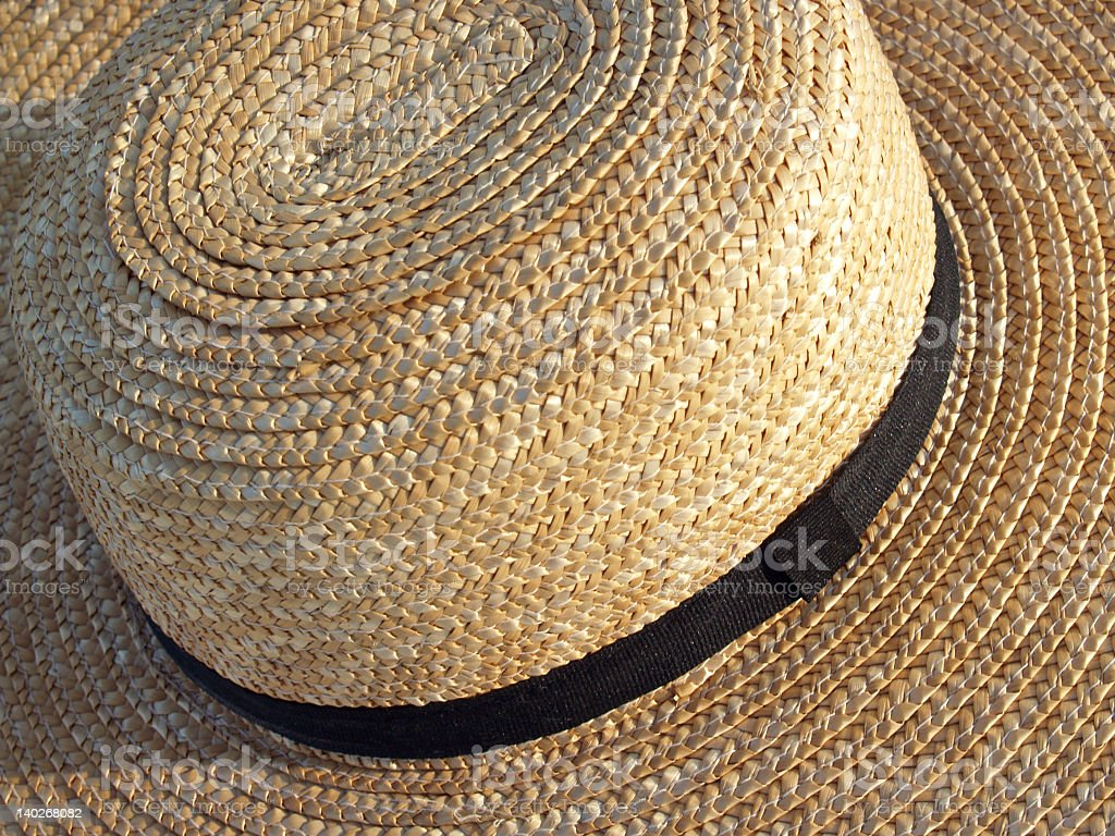 Amish-style Brimmed Straw Hat Detail from Above stock photo
