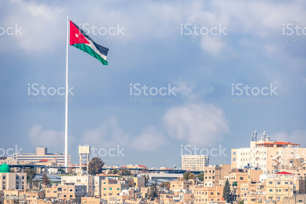02182019 Amman Jordan The Flag Of Jordan On The Background