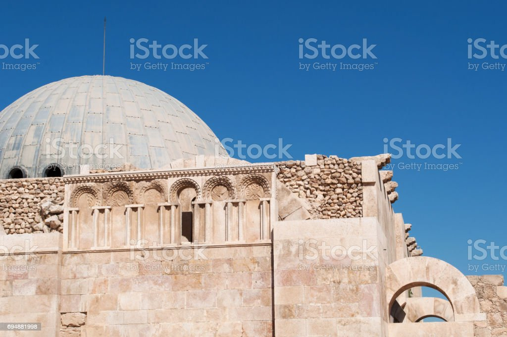 Amman: view of the Umayyad Palace, large palatial complex from the Umayyad period located on the Citadel Hill (Jabal al-Qal'a) of Amman and built during the first half of the 8th century stock photo