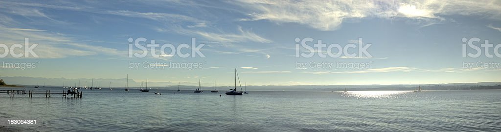 Ammersee XXL Panorama with boats and dock stock photo
