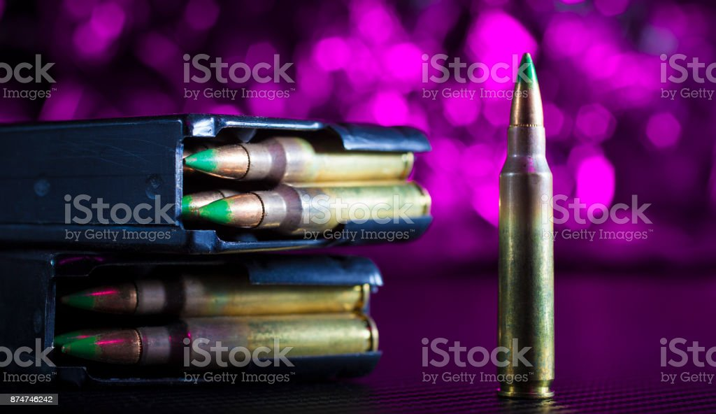 AR-15 ammo and magazine stock photo
