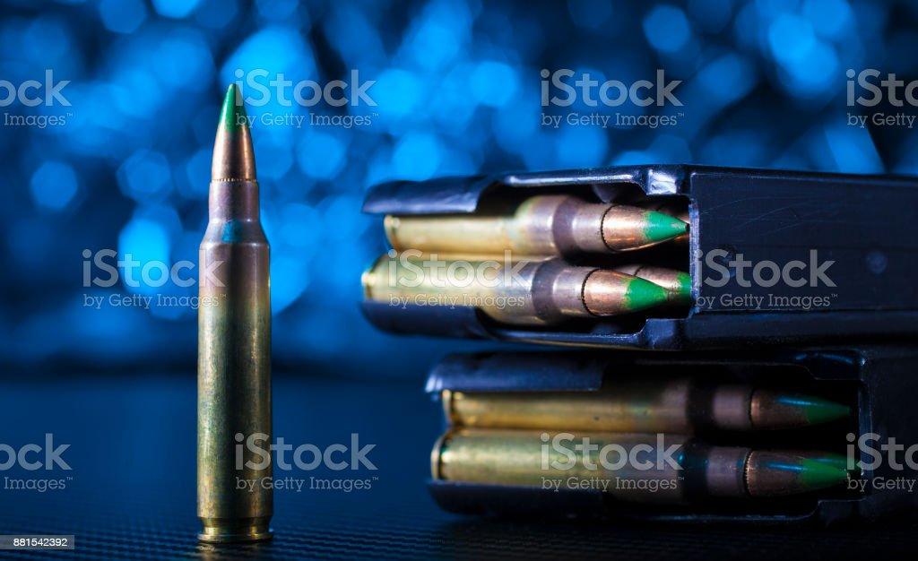 AR-15 ammo and magazines stock photo