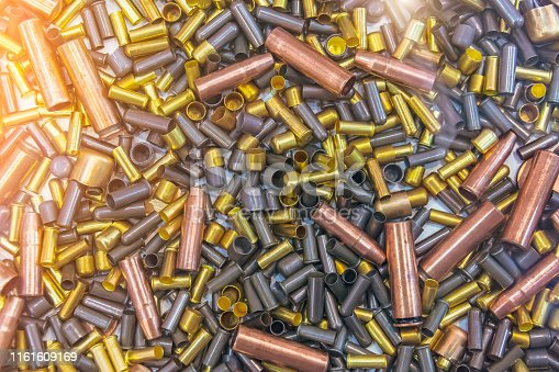 istock Ammo bullets, military war background. Army supplies texture. 1161609169