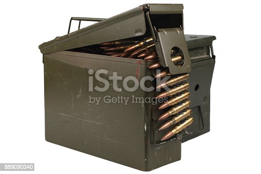 907208642 istock photo Ammo Can with ammo and ammunition belt 889090340