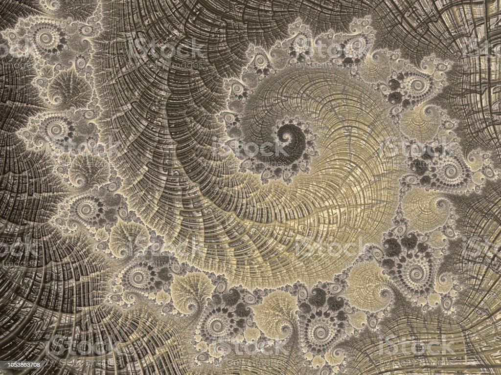 菊石抽象黃金螺旋復古鸚鵡螺海貝殼分形藝術豪華斐波那契模式 - 免版稅不規則碎片形圖庫照片