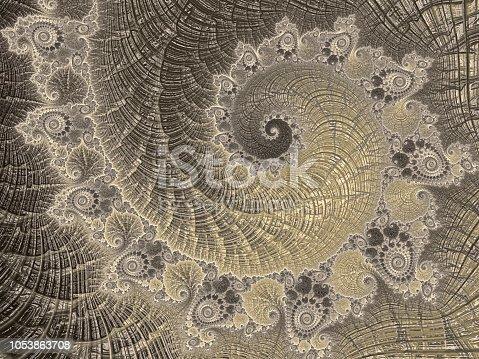istock Ammonite Abstract Golden Spiral Vintage Nautilus Sea Shell Fractal Art Luxury Fibonacci Pattern 1053863708