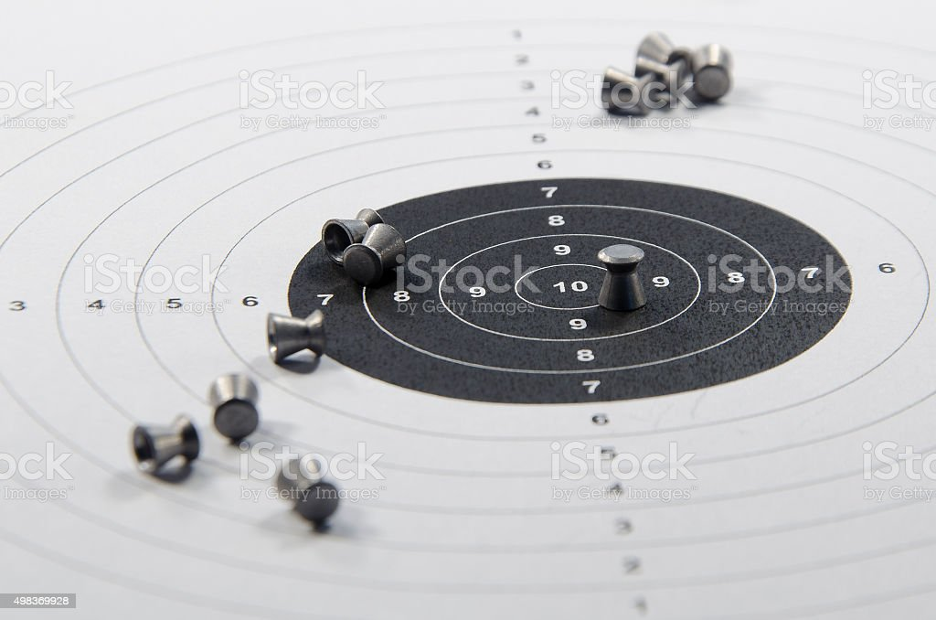 ammunition and aim for pneumatic weapon stock photo