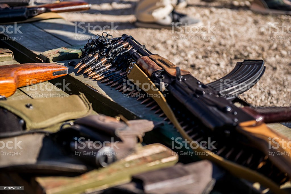 Ammunition and automatic handgun stock photo