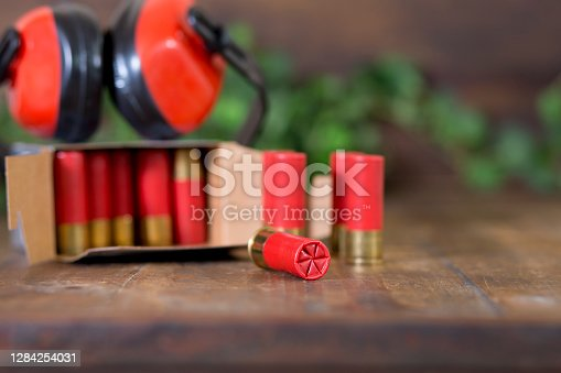 Shot shells and ear muffs on display.  Great background image. Christmas gift ideas for the avid hunter.