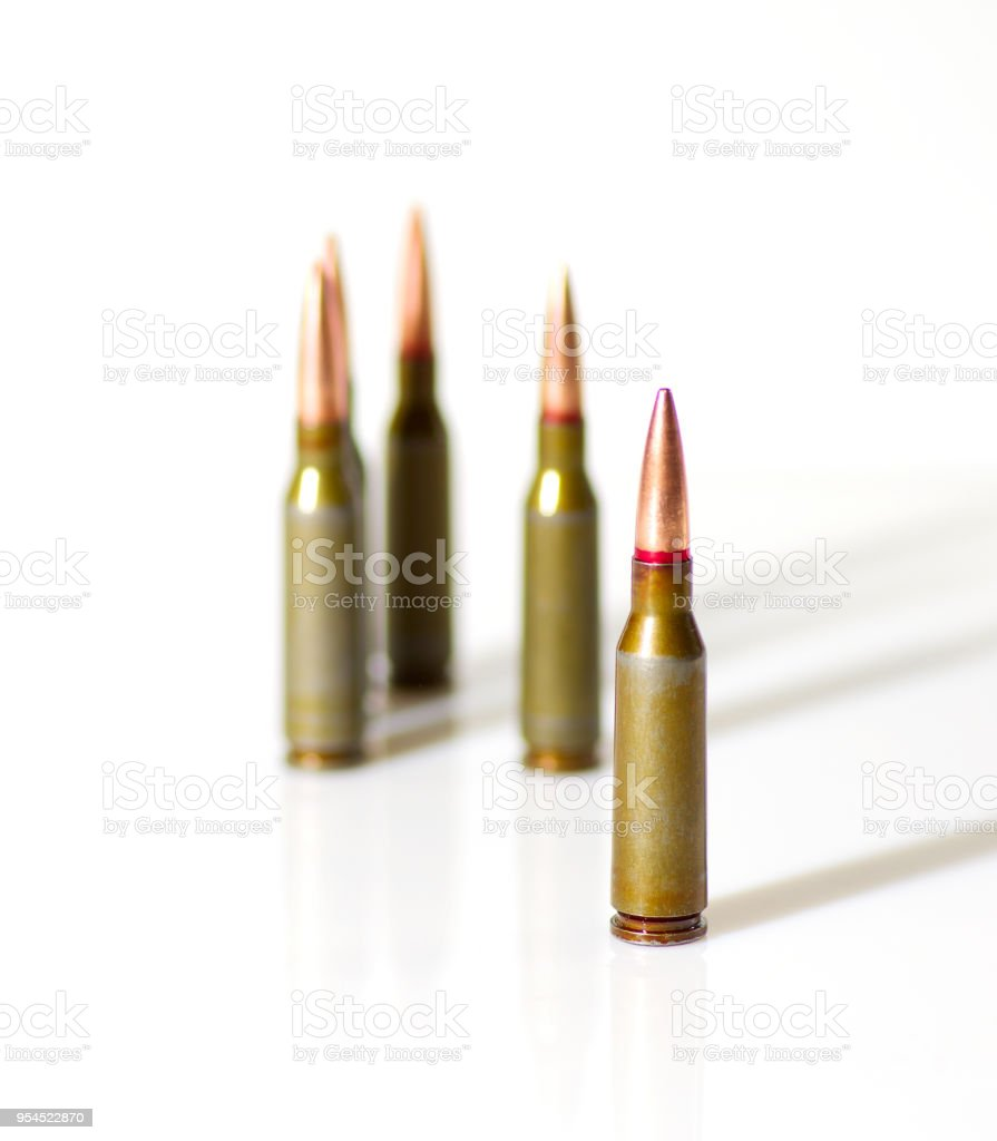 Ammunition cartridges on white stock photo