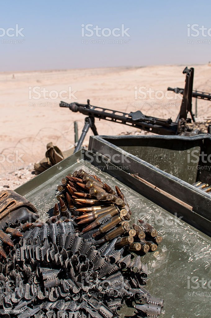 Ammunition Foreground Machineguns Background stock photo