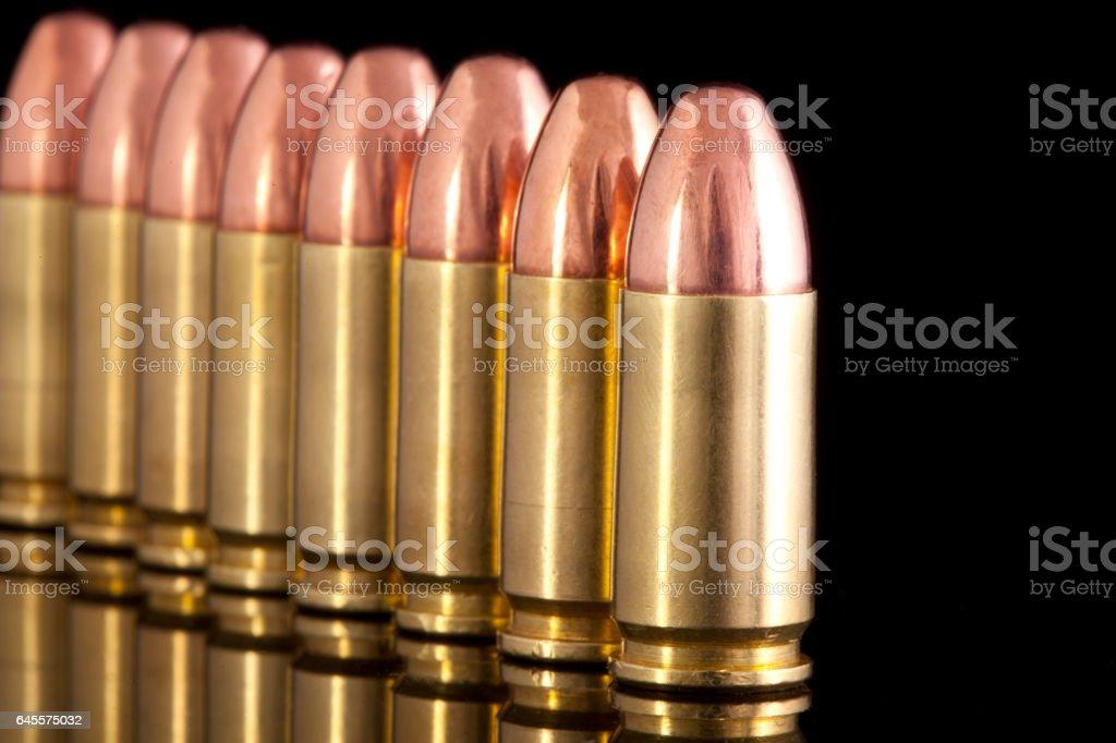 Ammunition on black background stock photo
