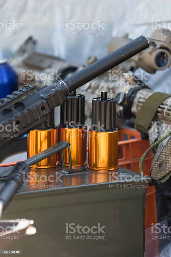 ammunition to arms closeup Lizenzfreies stock-foto