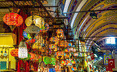 ISTANBUL, TURKEY - August 29, 2018:  among countless shops in Grand Bazaar market in Istanbul. Shopping and travel in Turkey concept