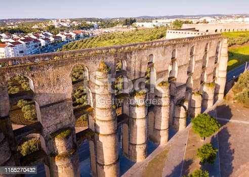 Medieval Amoreira Aqueduct on outskirts of fortress city of Elvas, Portugal