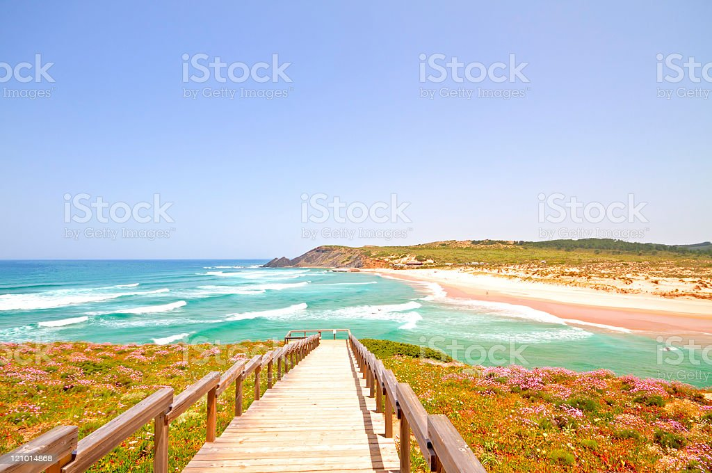 Amoreira beach in the Algarve Portugal stock photo