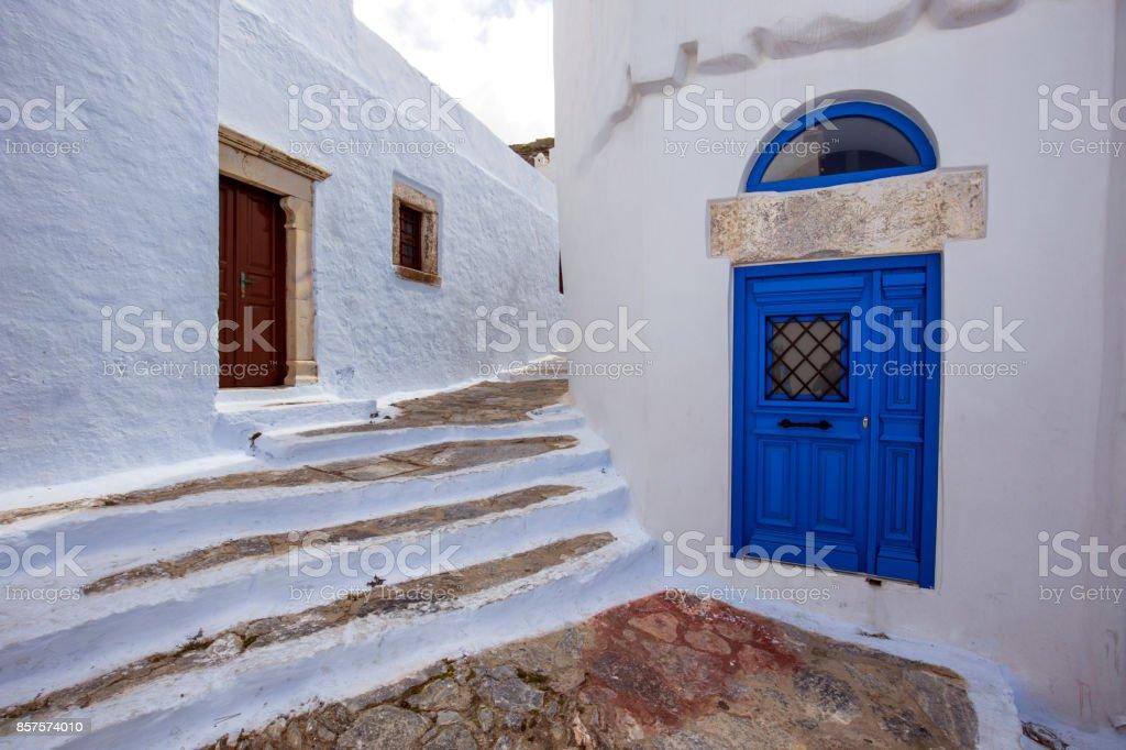 Amorgos Town Street stock photo