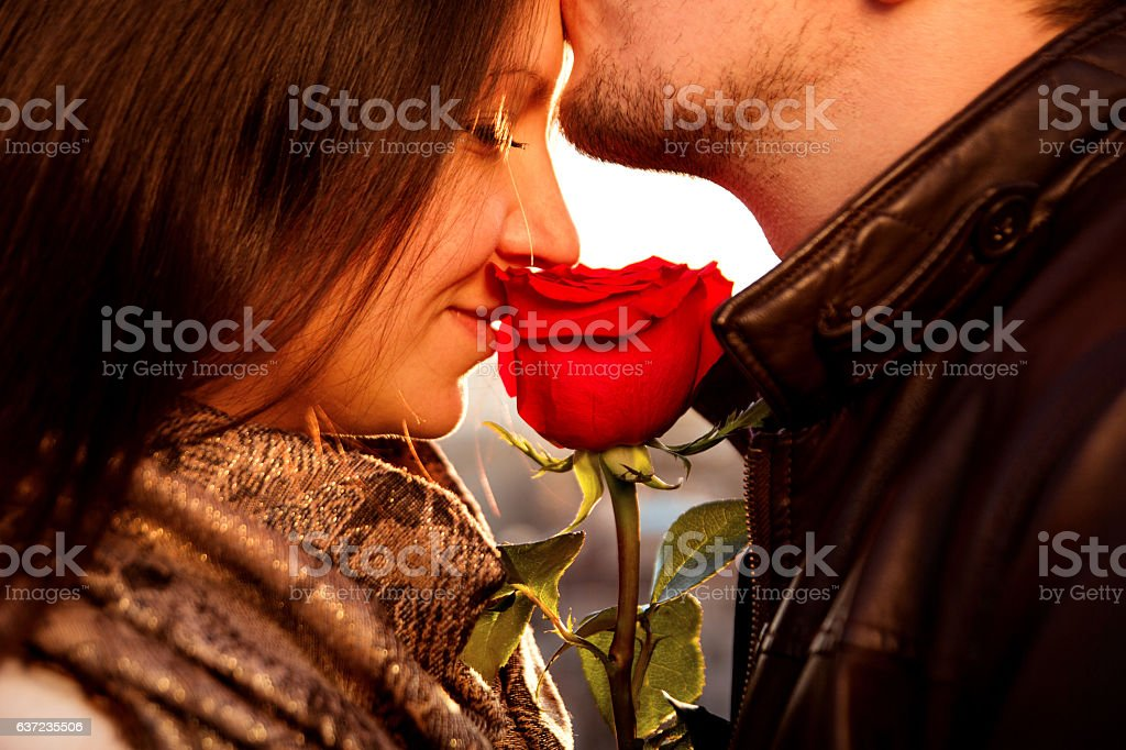 Amorous guy gently kissing his girl with red rose
