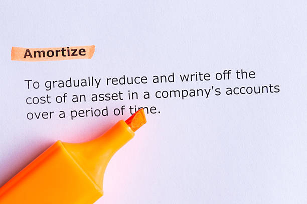 amortize amortize  word highlighted  on the white paper amortize stock pictures, royalty-free photos & images