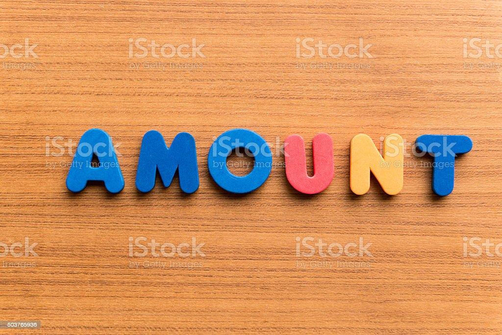 amount colorful word stock photo