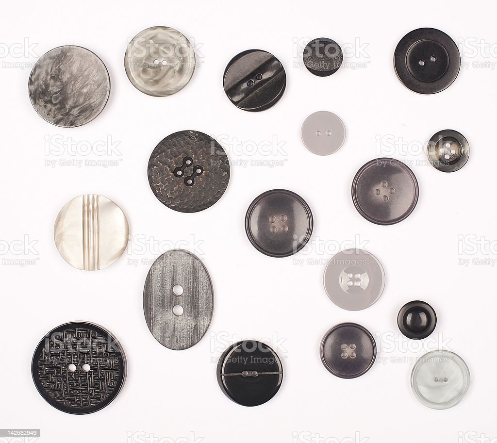 B & W Vintage botones - foto de stock