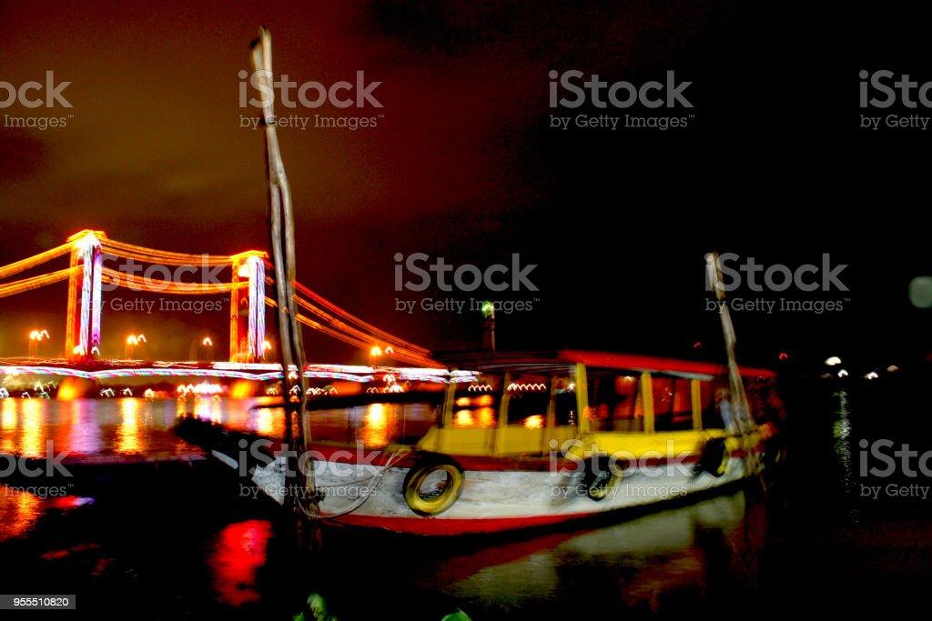 Ampera Bridge Night Life stock photo