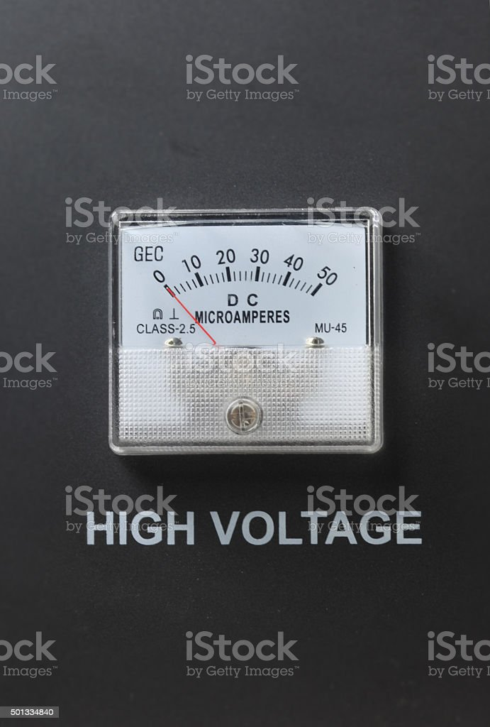 Ampermeter with High Voltage letter stock photo