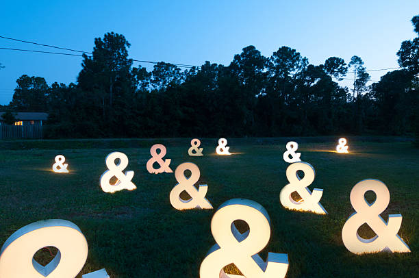 ampersand lights in backyard - ampersand stock pictures, royalty-free photos & images