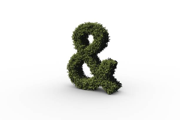 ampersand made of leaves - ampersand stock pictures, royalty-free photos & images