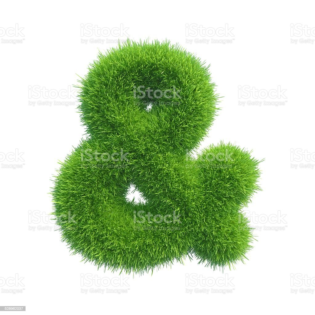 ampersand of green fresh grass isolated on a white background. stock photo