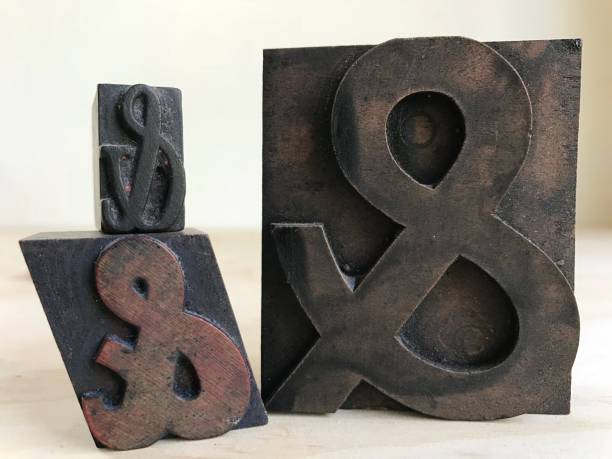 ampersand printers wooden blocks - ampersand stock pictures, royalty-free photos & images