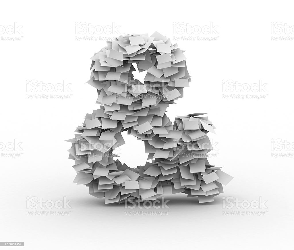 Ampersand sign, stacked from paper sheets stock photo