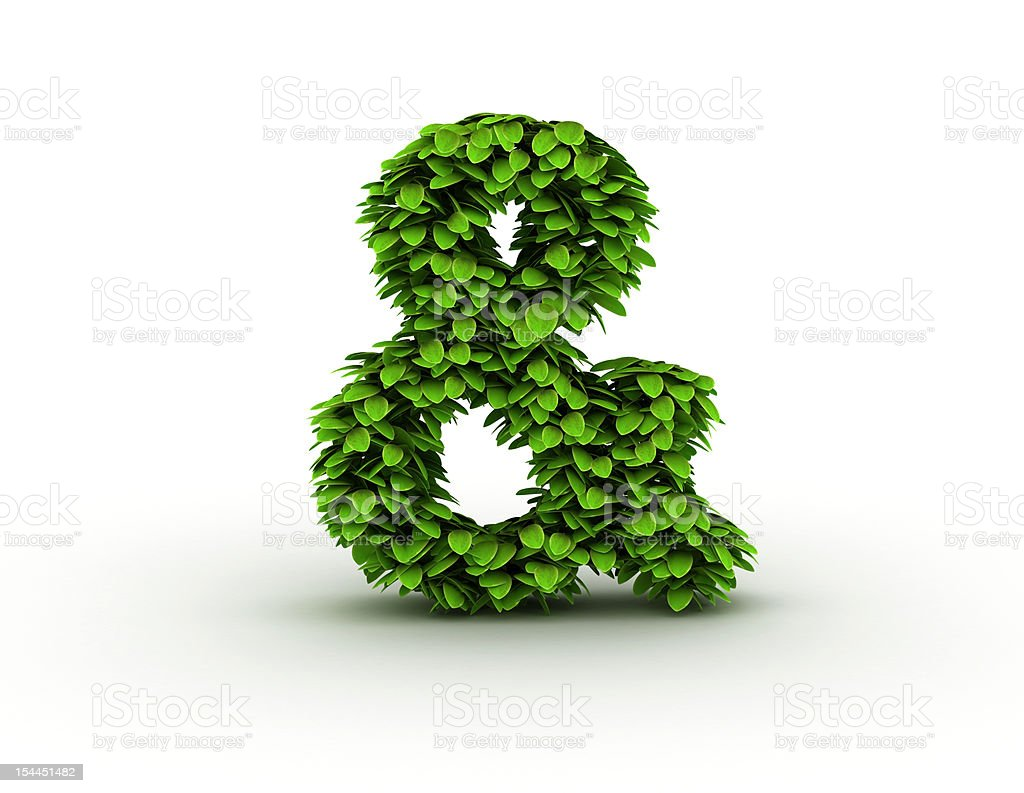 Ampersand sign with leaves stock photo